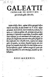 Galeatii Capellae De rebus nuper in Italia gestis libri octo