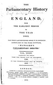 "Cobbett's Parliamentary History of England: From the Norman Conquest, in 1066, to the Year, 1803. From which Last-mentioned Epoch it is Continued Downwards in the Work Entitled: ""Cobbett's Parliamentary Debates""., Volume 34"
