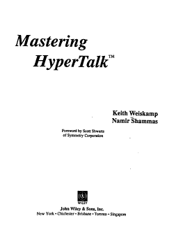 Mastering HyperTalk PDF