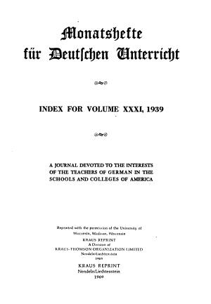 Monatshefte f  r deutschen Unterricht PDF