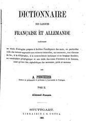 Dictionaire des Langues Francaise et Allemande