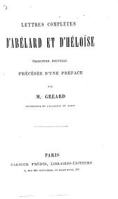 Lettres complètes d'Abélard et d'Héloise: traduction nouv. précédée d'une préf