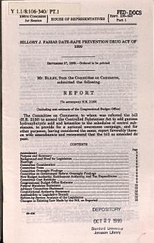 Hillory J  Farias Date Rape Prevention Drug Act of 1999 PDF