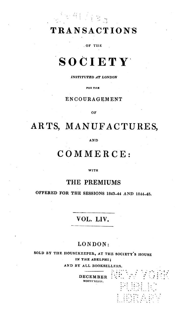Transactions of the Society of Arts