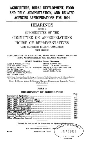 Agriculture  Rural Development  Food and Drug Administration  and Related Agencies Appropriations for 2004  Department of Agriculture