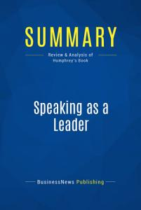 Summary  Speaking as a Leader PDF