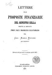 Lettere sulle proposte finanziarie del ministro Sella