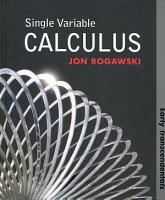Single Variable Calculus  Early Transcendentals PDF