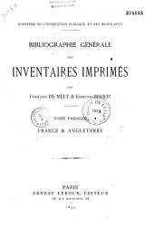 Bibliographie générale des inventaires imprimés: Volume1