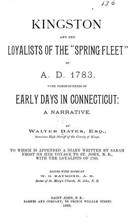Kingston and the Loyalists of the  Spring Fleet  of 1783 PDF