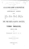 Anniversary Address before the New York Alpha of the Phi Beta Kappa Society     by W  Tracy PDF