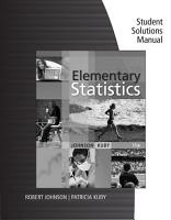 Student Solutions Manual for Johnson Kuby s Elementary Statistics  11th PDF
