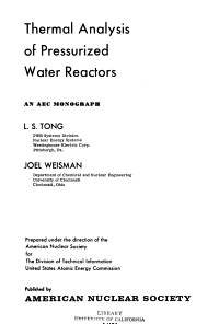 Thermal Analysis of Pressurized Water Reactors