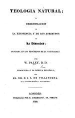 Teología Natural. ... Traducida á la lengua Española por D. J. L. de Villanueva