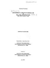 Environmental aspects of chemical use in well-drilling operations: conference proceedings : May 1975, Houston, Texas