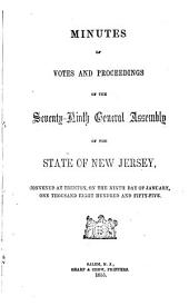Minutes of Votes and Proceedings of the General Assembly of the State of New-Jersey