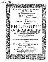 Duo definitionum disquisitiones: altera hominis, altera loci naturalis: resp. Valentinus Rimer
