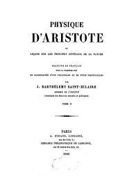 Physique d'Aristote: ou Leçons sur les principes généraux de la nature, Volume2