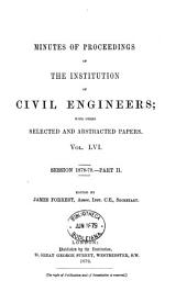 Minutes of Proceedings of the Institution of Civil Engineers; with other Selected and Abstracted Papers.