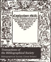 Transactions of the Bibliographical Society: Volume 3