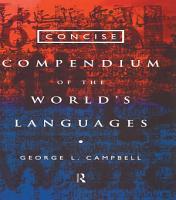 Concise Compendium of the World s Languages PDF