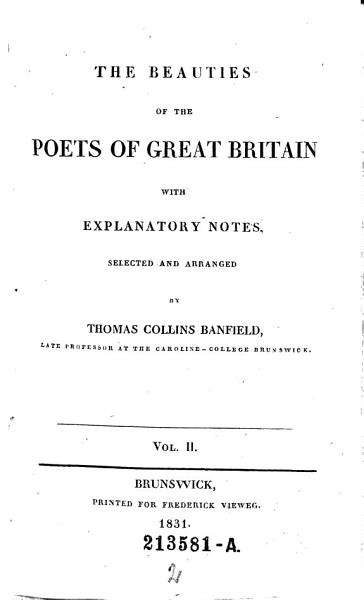 Download The Beauties of the Poets of Great Britain Book
