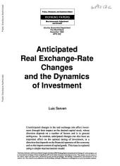 Anticipated Real Exchange-rate Changes and the Dynamics of Investment: Volume 562