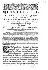 Institutio Porphyrii De Quinque Vocibus
