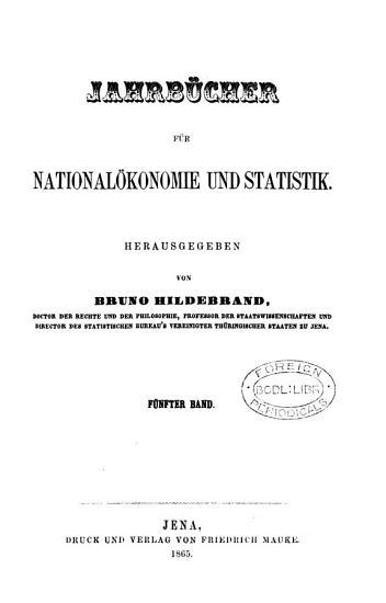 Jahrb  cher f  r National  konomie und Statistik  herausg  von B  Hildebrand PDF
