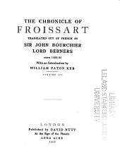 The Chronicle of Froissart: Volume 3