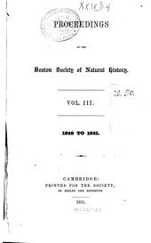 Proceedings of the Boston Society of Natural History: Volume 3