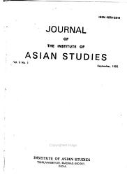 Journal Of The Institute Of Asian Studies Book PDF