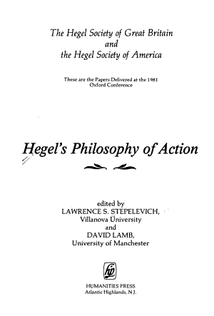 Hegel's Philosophy of Action