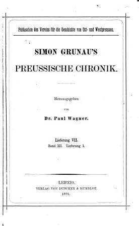 Simon Grunau s preussische Chronik PDF