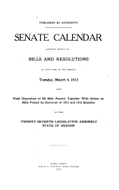 Calendar Showing Complete Record and Final Disposition of All Bills, Resolutions, Memorials, Etc
