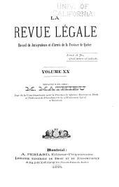 La Revue legale: Volume 20