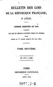 Bulletin des lois de la Republique Francaise: Volume10;Volumes1851à1852;Volume1859