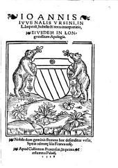 Ioannis Iuvenalis Ursini In L. Imperium, Subtilis & nova interpretatio, eiusdem in Longovallium Apologia
