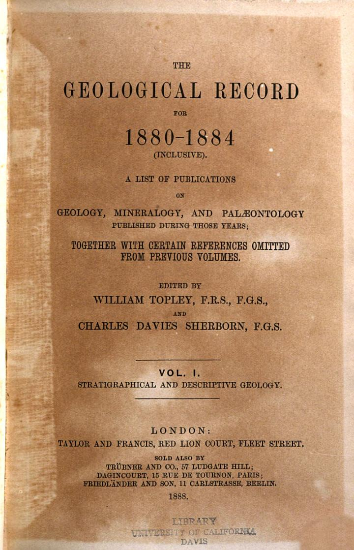 An Account of Works on Geology, Mineralogy, and Palaeontology Published During the Year...
