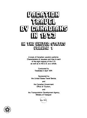 Vacation Travel by Canadians in the United States PDF