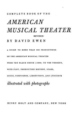 Complete Book of the American Musical Theater