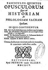 Fasciculus primus-decimus opusculorum quae ad historiam ac philologiam sacram spectant: Volume 2