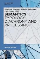 Semantics   Typology  Diachrony and Processing PDF