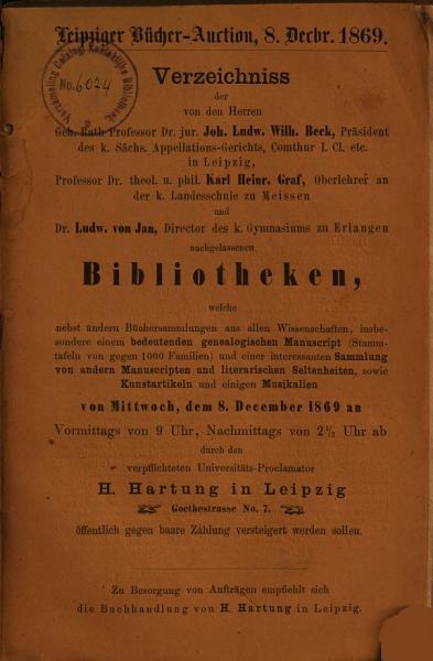 Veilingcatalogus Boeken Joh Ludw Wilh Beck Karl Heinr Graf Ludw Von Jan 8 Februari 1869