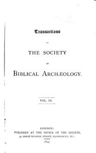 Transactions of the Society of Biblical Archaeology PDF