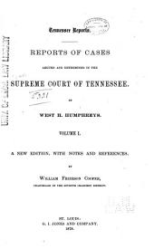 Reports of Cases Argued and Determined in the Supreme Court of Tennessee: Volume 20