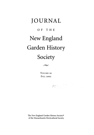 Journal of the New England Garden History Society PDF