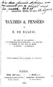 Maximes & pensées de H. de Balzac