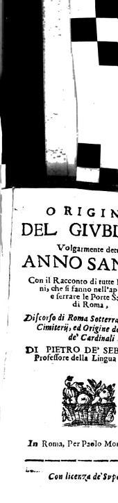 Origine del giubileo volgarmente detto Anno santo