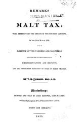 Remarks On The Malt Tax With Reference To The Debate In The House Of Commons On The 10th March 1835 Book PDF